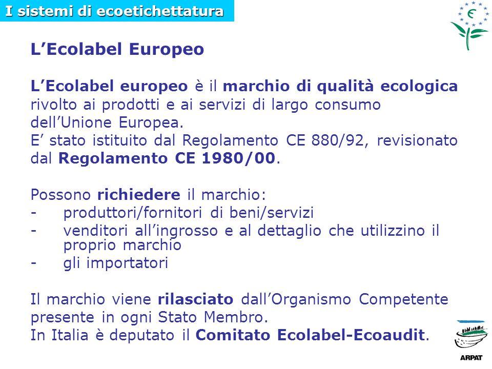 LEcolabel Europeo LEcolabel europeo è il marchio di qualità ecologica rivolto ai prodotti e ai servizi di largo consumo dellUnione Europea.