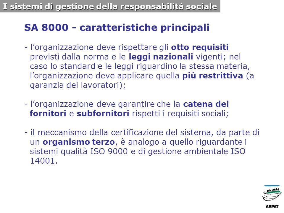 SA 8000 - caratteristiche principali - lorganizzazione deve rispettare gli otto requisiti previsti dalla norma e le leggi nazionali vigenti; nel caso lo standard e le leggi riguardino la stessa materia, lorganizzazione deve applicare quella più restrittiva (a garanzia dei lavoratori); - lorganizzazione deve garantire che la catena dei fornitori e subfornitori rispetti i requisiti sociali; - il meccanismo della certificazione del sistema, da parte di un organismo terzo, è analogo a quello riguardante i sistemi qualità ISO 9000 e di gestione ambientale ISO 14001.