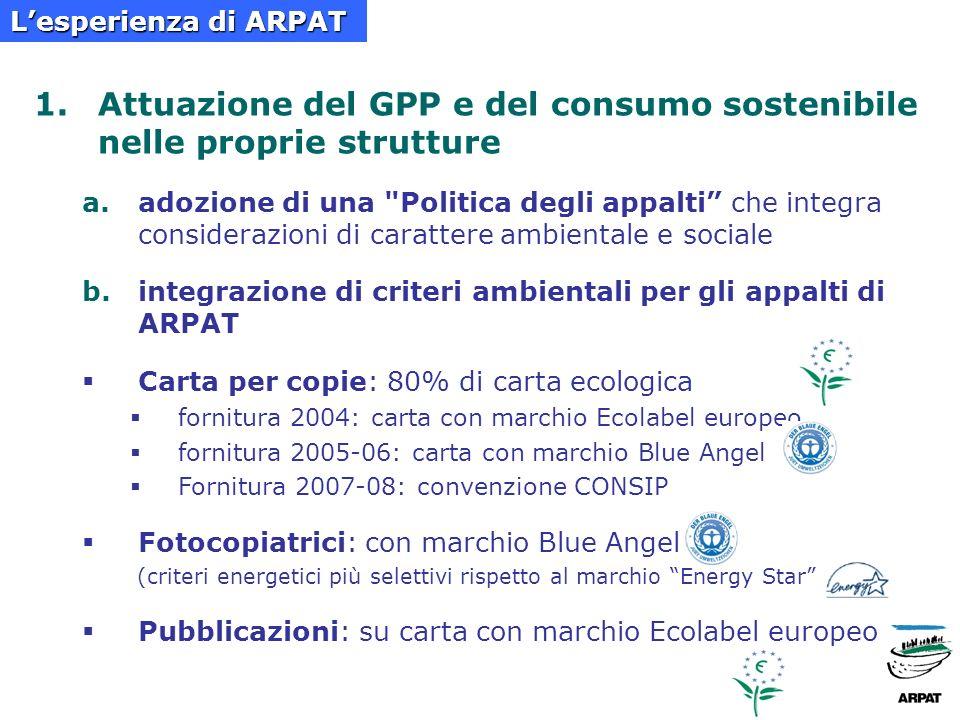 1.Attuazione del GPP e del consumo sostenibile nelle proprie strutture a.adozione di una Politica degli appalti che integra considerazioni di carattere ambientale e sociale b.integrazione di criteri ambientali per gli appalti di ARPAT Carta per copie: 80% di carta ecologica fornitura 2004: carta con marchio Ecolabel europeo fornitura 2005-06: carta con marchio Blue Angel Fornitura 2007-08: convenzione CONSIP Fotocopiatrici: con marchio Blue Angel (criteri energetici più selettivi rispetto al marchio Energy Star Pubblicazioni: su carta con marchio Ecolabel europeo Lesperienza di ARPAT