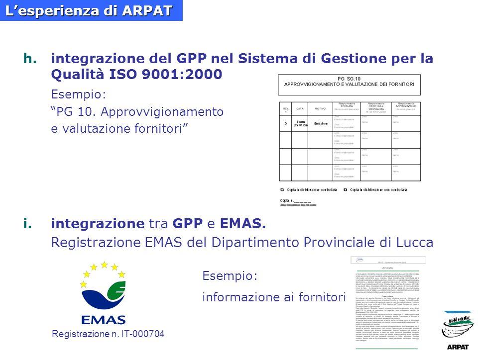 h.integrazione del GPP nel Sistema di Gestione per la Qualità ISO 9001:2000 Esempio: PG 10.