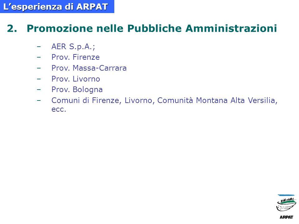 a.dal 2003, percorsi formativi sugli appalti pubblici sostenibili a favore degli EE.LL toscani b.su indicazione della Regione Toscana, PRAA 2004- 2006, Azione B.15, Diffusione degli Acquisti pubblici sostenibili negli Enti locali, ARPAT ha svolto attività di progettazione ed erogazione di percorsi formativi sugli appalti sostenibili (coinvolti oltre 90 Enti locali toscani) c.partecipazione ai Gruppi di Lavoro sul GPP: –GdL Acquisti Verdi del Coordinamento Agende 21 Locali Italiane Lesperienza di ARPAT