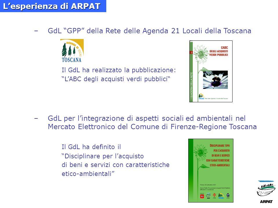 d.partecipazione a reti locali di GPP: Carta degli impegni per la promozione del GPP promossa dal Comune di Pisa Protocollo dintesa per gli acquisti pubblici verdi promosso dalla Prov.