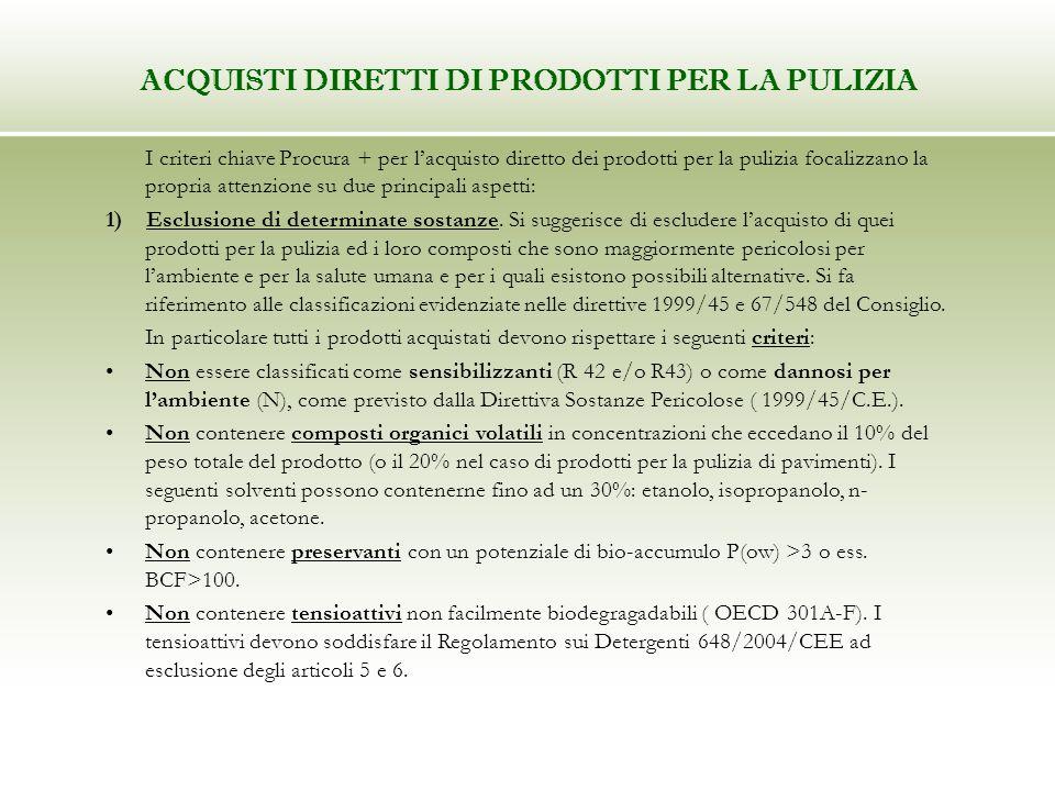 I criteri chiave Procura + per lacquisto diretto dei prodotti per la pulizia focalizzano la propria attenzione su due principali aspetti: 1) Esclusion