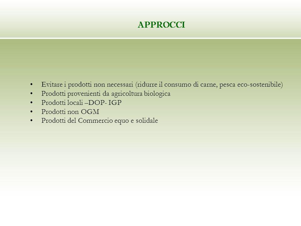 APPROCCI Evitare i prodotti non necessari (ridurre il consumo di carne, pesca eco-sostenibile) Prodotti provenienti da agricoltura biologica Prodotti