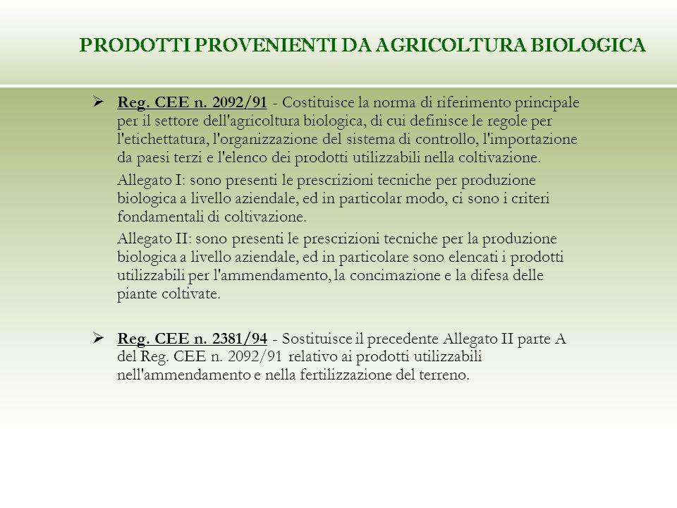 Reg. CEE n. 2092/91 - Costituisce la norma di riferimento principale per il settore dell'agricoltura biologica, di cui definisce le regole per l'etich