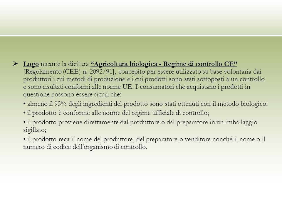 Logo recante la dicitura Agricoltura biologica - Regime di controllo CE [Regolamento (CEE) n. 2092/91], concepito per essere utilizzato su base volont