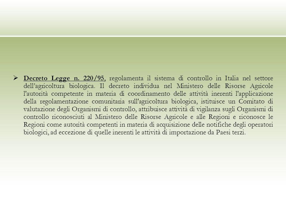 Decreto Legge n. 220/95, regolamenta il sistema di controllo in Italia nel settore dellagricoltura biologica. Il decreto individua nel Ministero delle