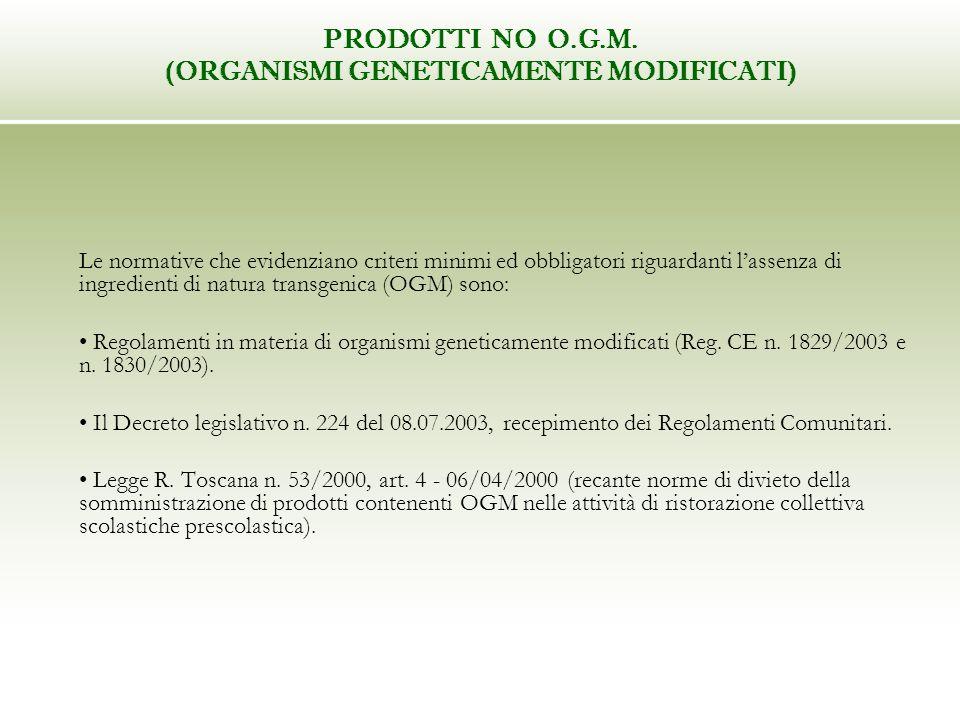 PRODOTTI NO O.G.M. (ORGANISMI GENETICAMENTE MODIFICATI) Le normative che evidenziano criteri minimi ed obbligatori riguardanti lassenza di ingredienti