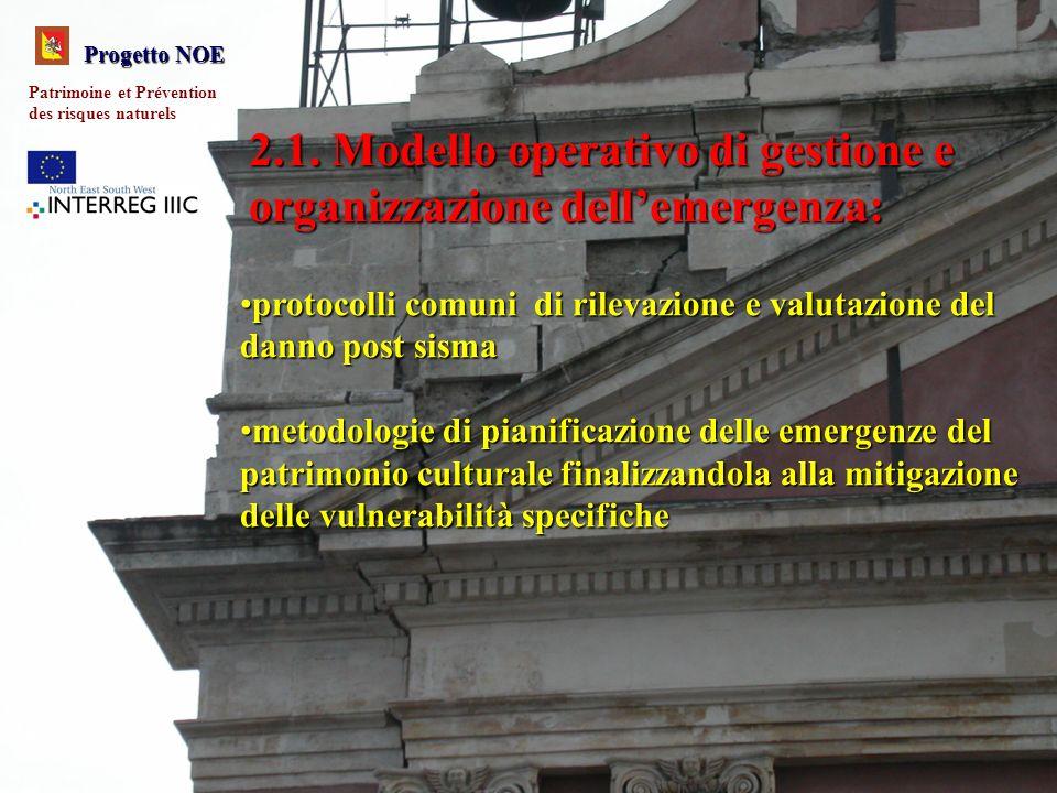 2.1. Modello operativo di gestione e organizzazione dellemergenza: protocolli comuni di rilevazione e valutazione del danno post sismaprotocolli comun