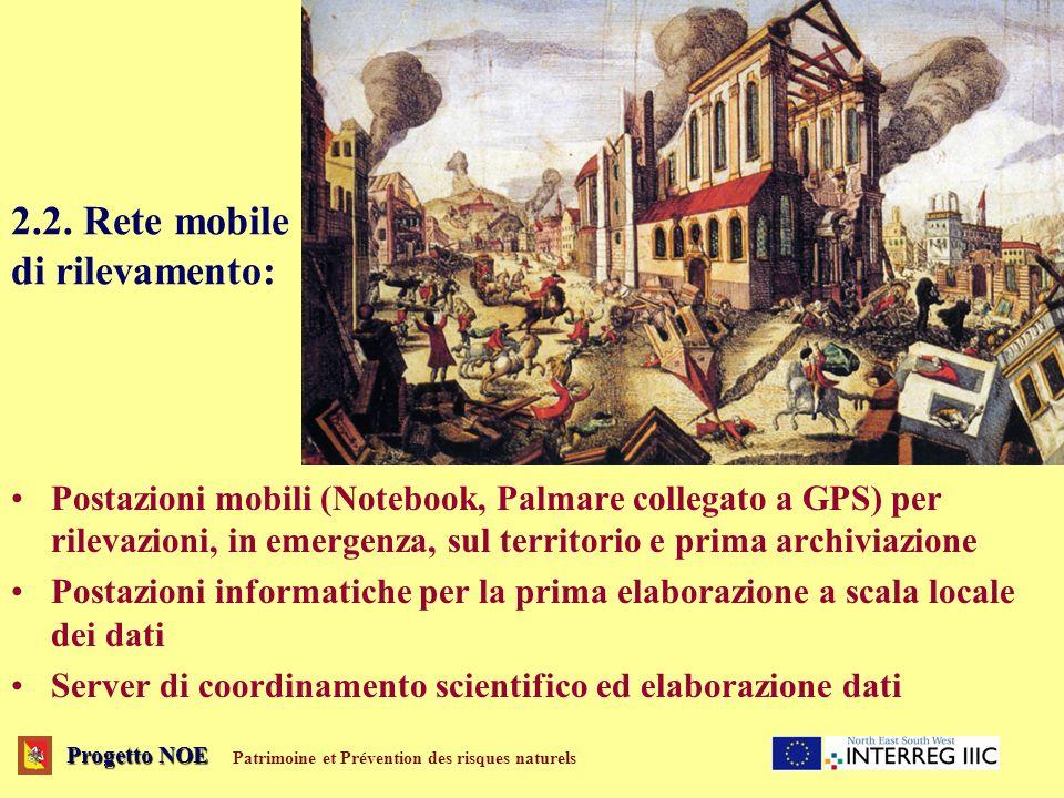 2.2. Rete mobile di rilevamento: Postazioni mobili (Notebook, Palmare collegato a GPS) per rilevazioni, in emergenza, sul territorio e prima archiviaz
