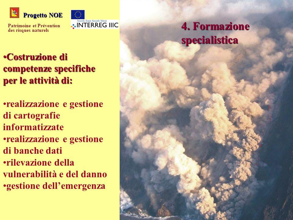 Progetto NOE Patrimoine et Prévention des risques naturels 4. Formazione specialistica Costruzione di competenze specifiche per le attività di:Costruz