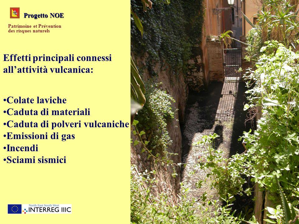 Progetto NOE Patrimoine et Prévention des risques naturels Effetti principali connessi allattività vulcanica: Colate laviche Caduta di materiali Cadut