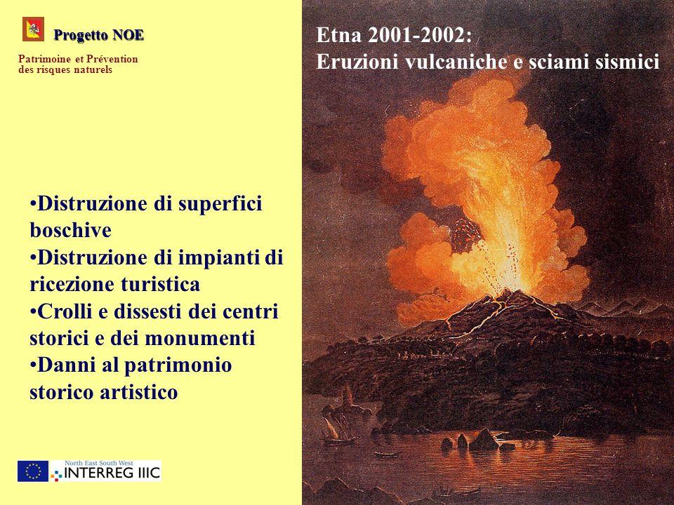 Progetto NOE Patrimoine et Prévention des risques naturels Etna 2001-2002: Eruzioni vulcaniche e sciami sismici Distruzione di superfici boschive Dist