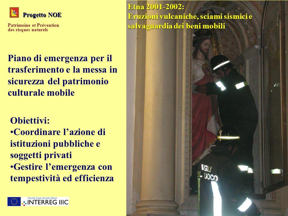 Progetto NOE Patrimoine et Prévention des risques naturels Etna 2001-2002: Eruzioni vulcaniche, sciami sismici e salvaguardia dei beni mobili Obiettiv