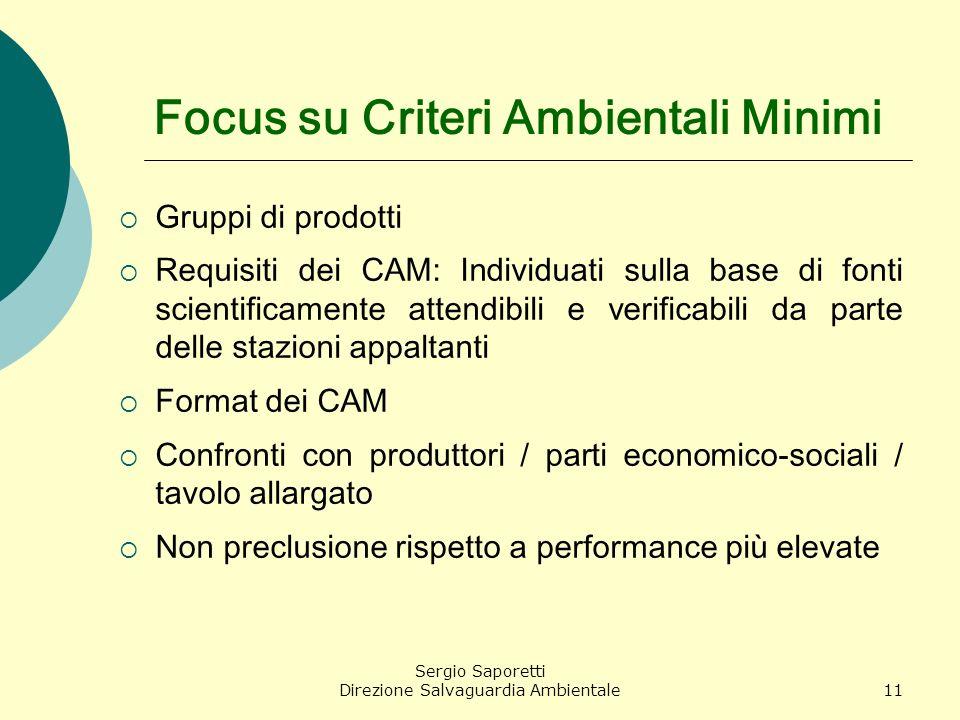 Sergio Saporetti Direzione Salvaguardia Ambientale11 Focus su Criteri Ambientali Minimi Gruppi di prodotti Requisiti dei CAM: Individuati sulla base d