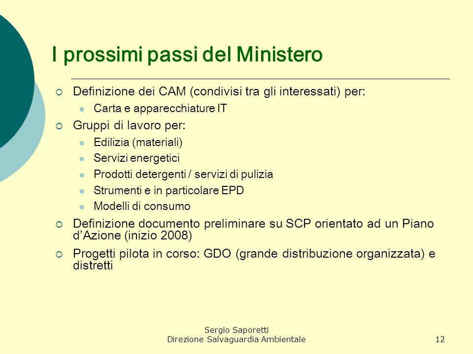 Sergio Saporetti Direzione Salvaguardia Ambientale12 I prossimi passi del Ministero Definizione dei CAM (condivisi tra gli interessati) per: Carta e a