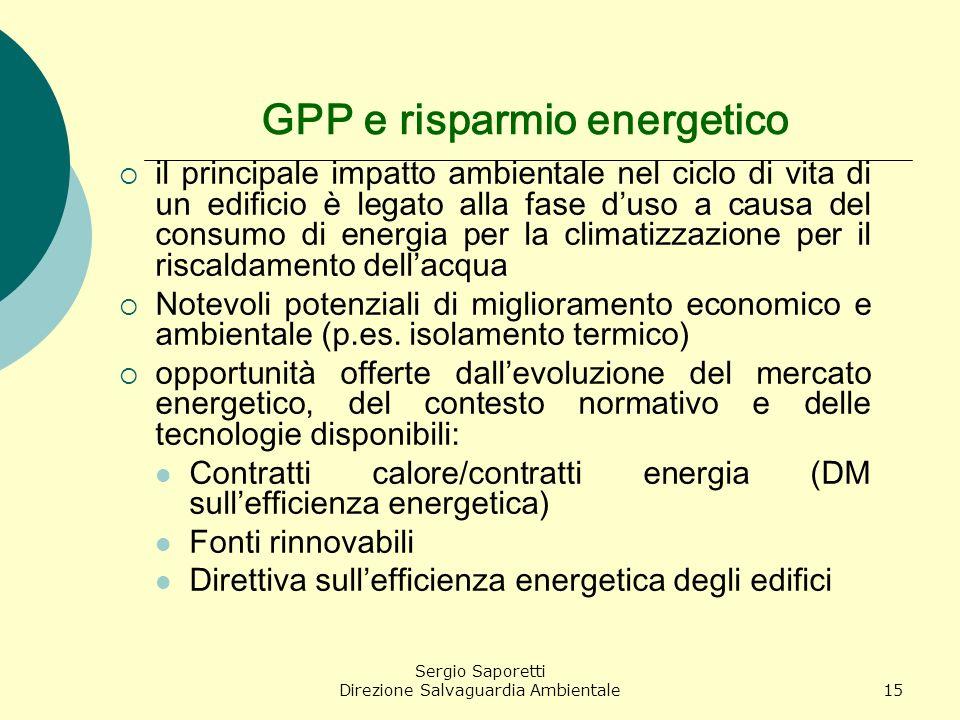 Sergio Saporetti Direzione Salvaguardia Ambientale15 GPP e risparmio energetico il principale impatto ambientale nel ciclo di vita di un edificio è le