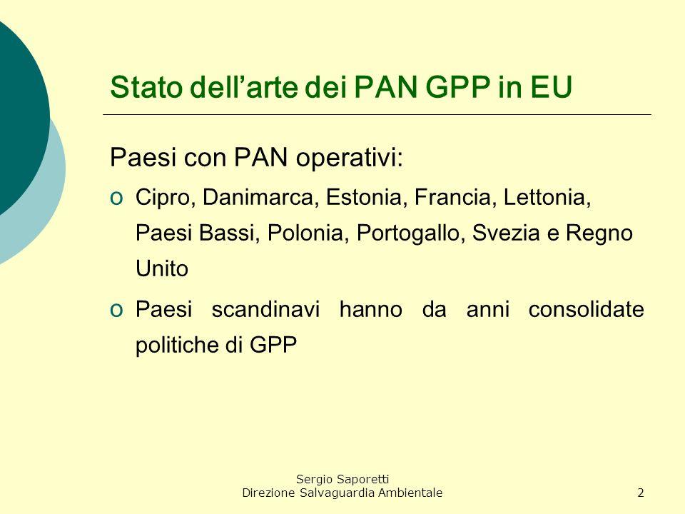 Sergio Saporetti Direzione Salvaguardia Ambientale2 Stato dellarte dei PAN GPP in EU Paesi con PAN operativi: o Cipro, Danimarca, Estonia, Francia, Le