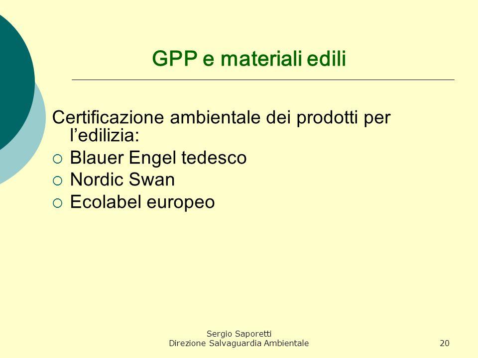 Sergio Saporetti Direzione Salvaguardia Ambientale20 GPP e materiali edili Certificazione ambientale dei prodotti per ledilizia: Blauer Engel tedesco