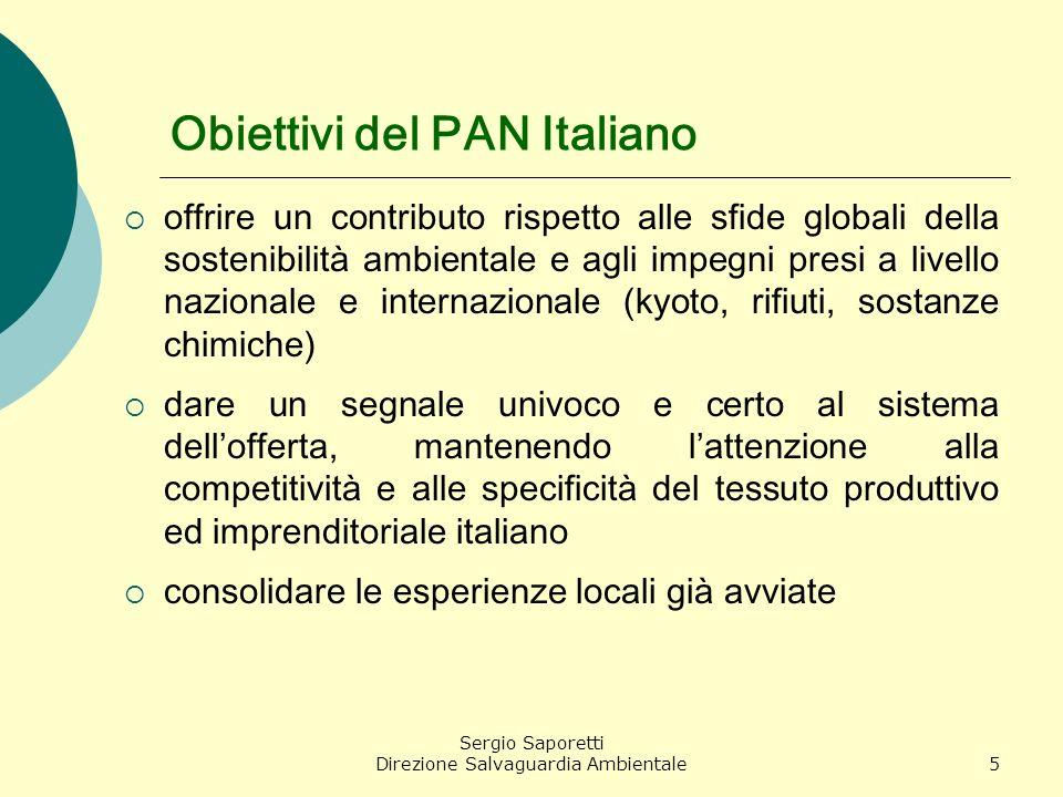 Sergio Saporetti Direzione Salvaguardia Ambientale5 Obiettivi del PAN Italiano offrire un contributo rispetto alle sfide globali della sostenibilità a
