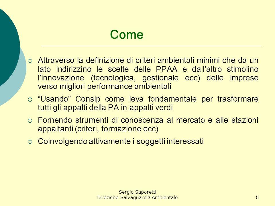Sergio Saporetti Direzione Salvaguardia Ambientale17 Cosa può fare una PA su questo tema.