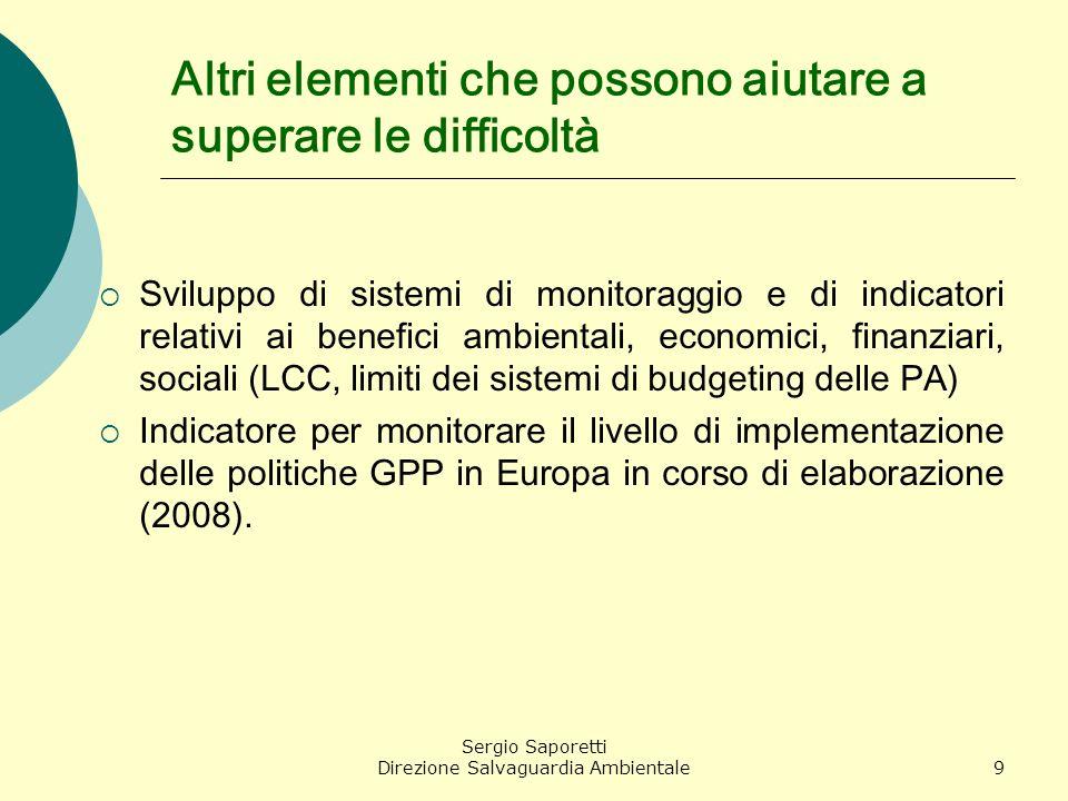 Sergio Saporetti Direzione Salvaguardia Ambientale9 Altri elementi che possono aiutare a superare le difficoltà Sviluppo di sistemi di monitoraggio e