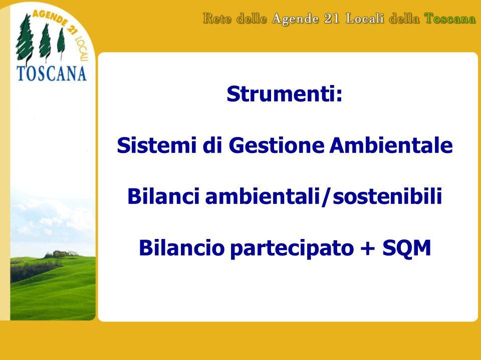 Strumenti: Sistemi di Gestione Ambientale Bilanci ambientali/sostenibili Bilancio partecipato + SQM