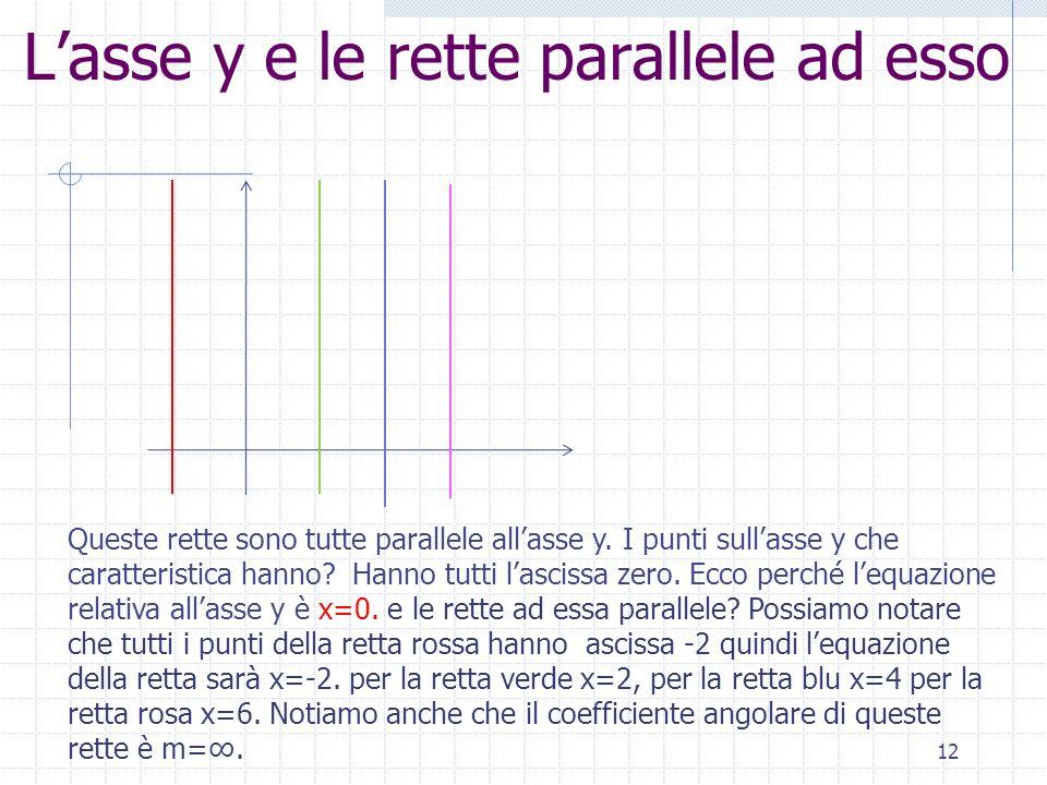 Lasse y e le rette parallele ad esso 12 Queste rette sono tutte parallele allasse y. I punti sullasse y che caratteristica hanno? Hanno tutti lascissa