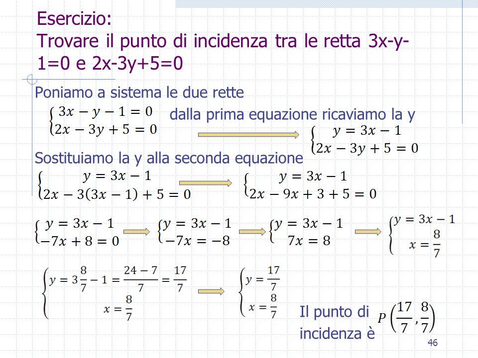 Esercizio: Trovare il punto di incidenza tra le retta 3x-y- 1=0 e 2x-3y+5=0 Poniamo a sistema le due rette dalla prima equazione ricaviamo la y Sostit