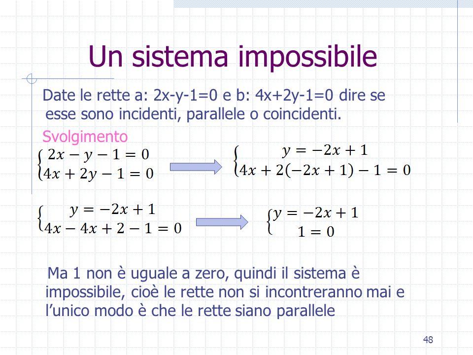 Un sistema impossibile Date le rette a: 2x-y-1=0 e b: 4x+2y-1=0 dire se esse sono incidenti, parallele o coincidenti. Svolgimento Ma 1 non è uguale a