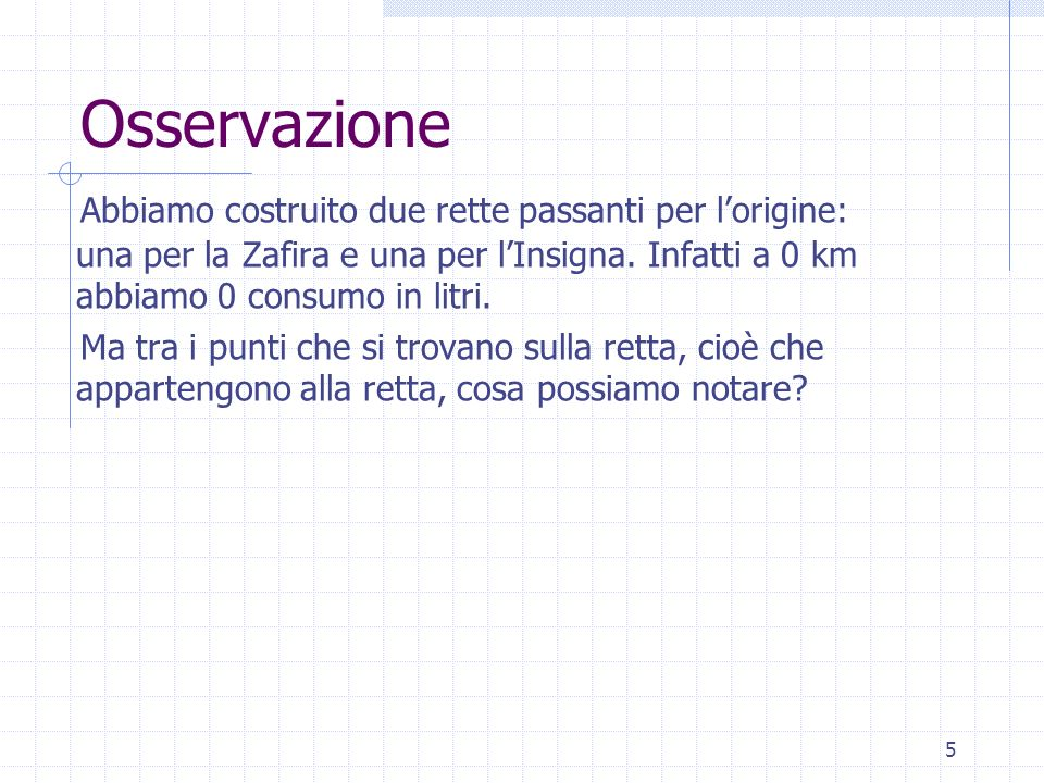 Osservazione Abbiamo costruito due rette passanti per lorigine: una per la Zafira e una per lInsigna. Infatti a 0 km abbiamo 0 consumo in litri. Ma tr