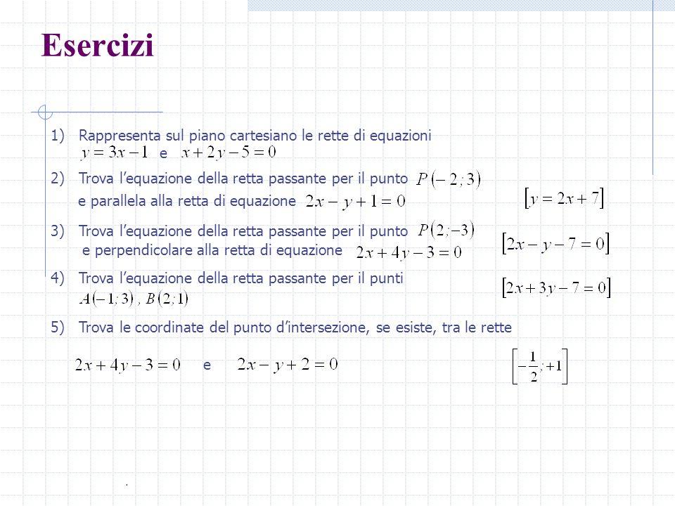Esercizi... 1) Rappresenta sul piano cartesiano le rette di equazioni e 2) Trova lequazione della retta passante per il punto e parallela alla retta d