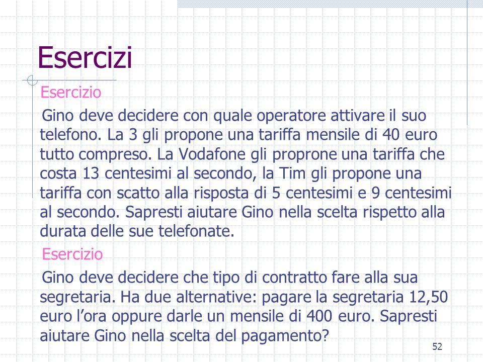 Esercizi Esercizio Gino deve decidere con quale operatore attivare il suo telefono. La 3 gli propone una tariffa mensile di 40 euro tutto compreso. La