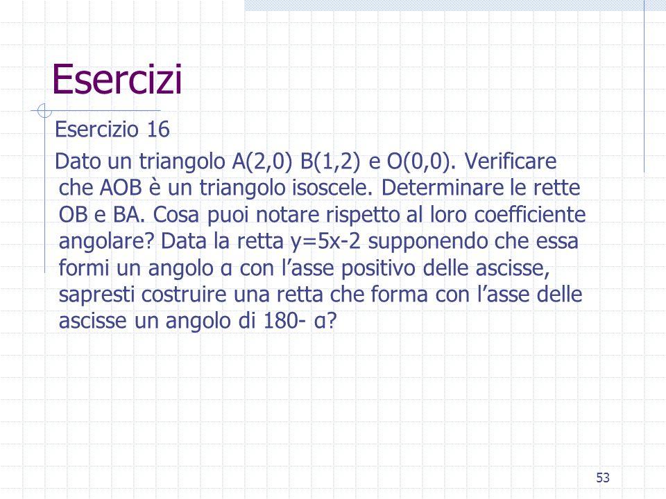 Esercizi Esercizio 16 Dato un triangolo A(2,0) B(1,2) e O(0,0). Verificare che AOB è un triangolo isoscele. Determinare le rette OB e BA. Cosa puoi no