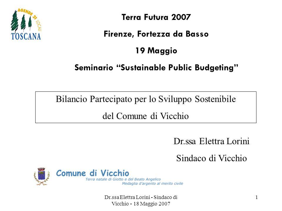 Dr.ssa Elettra Lorini - Sindaco di Vicchio - 18 Maggio 2007 1 Bilancio Partecipato per lo Sviluppo Sostenibile del Comune di Vicchio Dr.ssa Elettra Lo