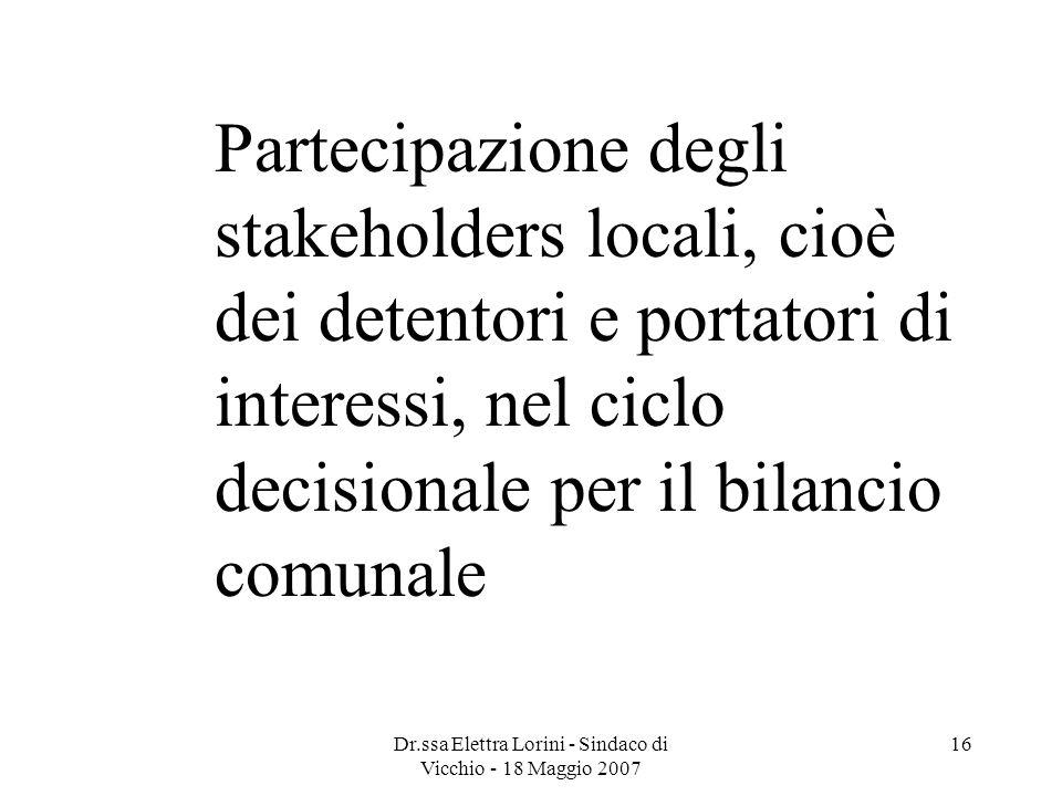 Dr.ssa Elettra Lorini - Sindaco di Vicchio - 18 Maggio 2007 16 Partecipazione degli stakeholders locali, cioè dei detentori e portatori di interessi,