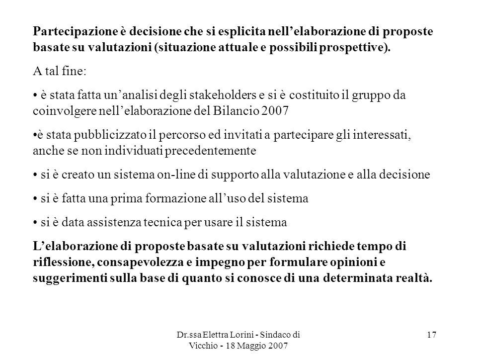 Dr.ssa Elettra Lorini - Sindaco di Vicchio - 18 Maggio 2007 17 Partecipazione è decisione che si esplicita nellelaborazione di proposte basate su valu