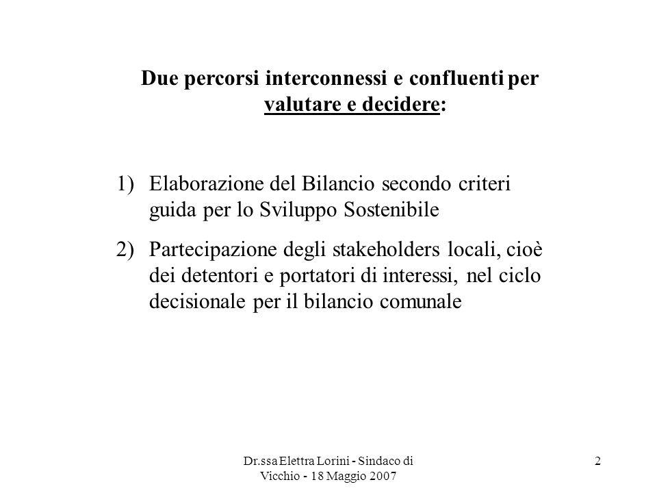 Dr.ssa Elettra Lorini - Sindaco di Vicchio - 18 Maggio 2007 2 Due percorsi interconnessi e confluenti per valutare e decidere: 1)Elaborazione del Bila
