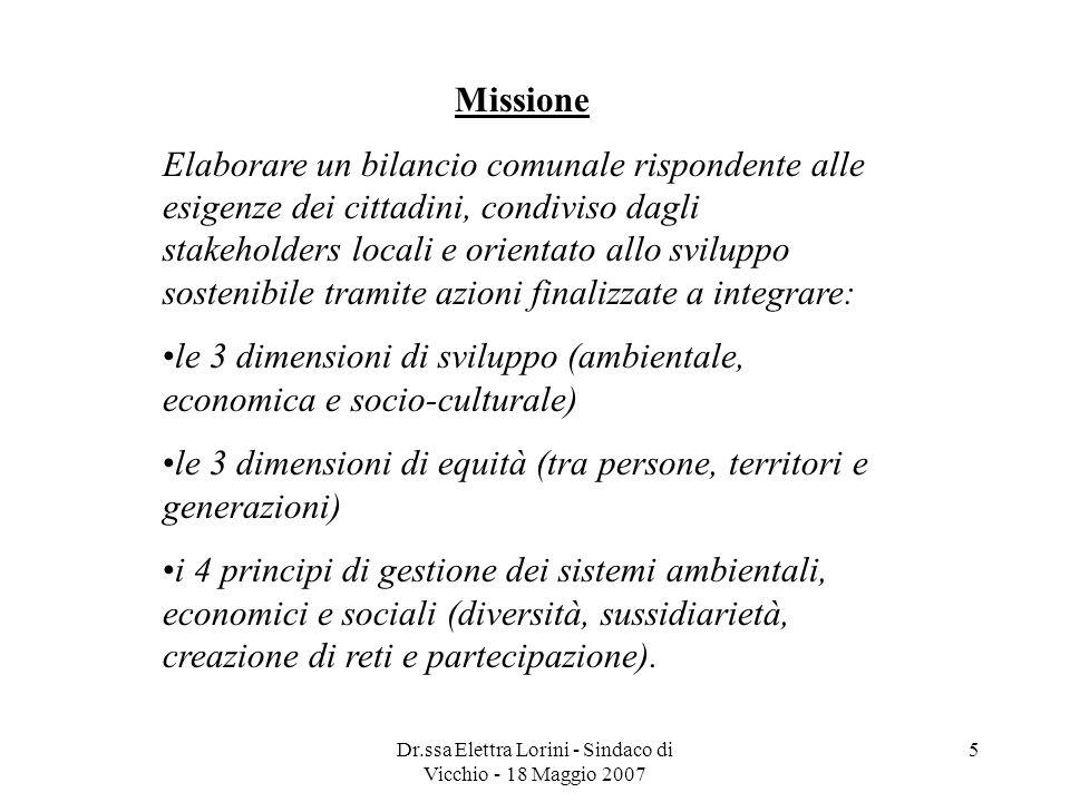 Dr.ssa Elettra Lorini - Sindaco di Vicchio - 18 Maggio 2007 5 Missione Elaborare un bilancio comunale rispondente alle esigenze dei cittadini, condivi