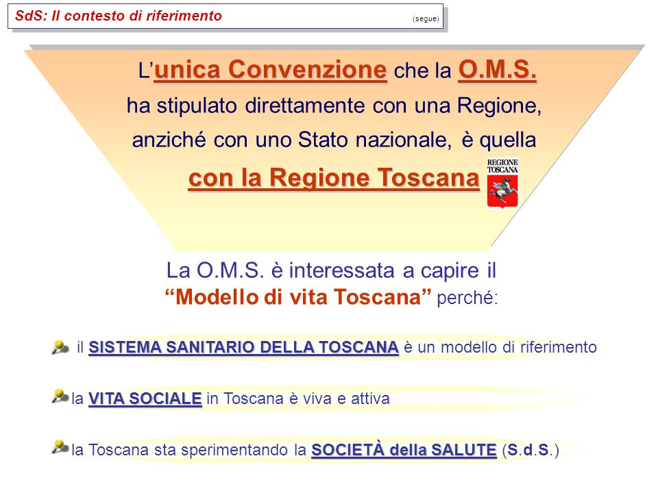 SISTEMA SANITARIO DELLA TOSCANA il SISTEMA SANITARIO DELLA TOSCANA è un modello di riferimento VITA SOCIALE la VITA SOCIALE in Toscana è viva e attiva SOCIETÀ della SALUTE la Toscana sta sperimentando la SOCIETÀ della SALUTE (S.d.S.) unica ConvenzioneO.M.S.