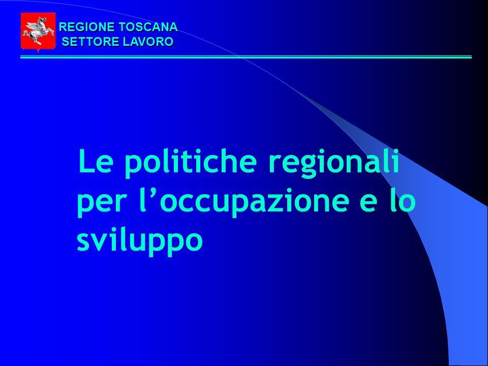 REGIONE TOSCANA SETTORE LAVORO Le politiche regionali per loccupazione e lo sviluppo