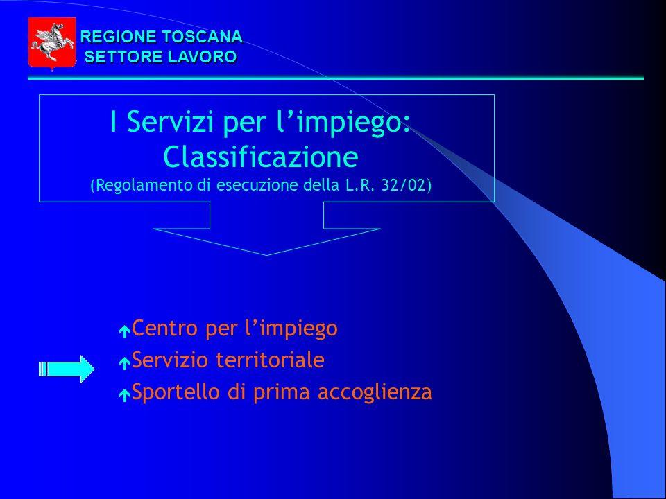 REGIONE TOSCANA SETTORE LAVORO I Servizi per limpiego: Classificazione (Regolamento di esecuzione della L.R.
