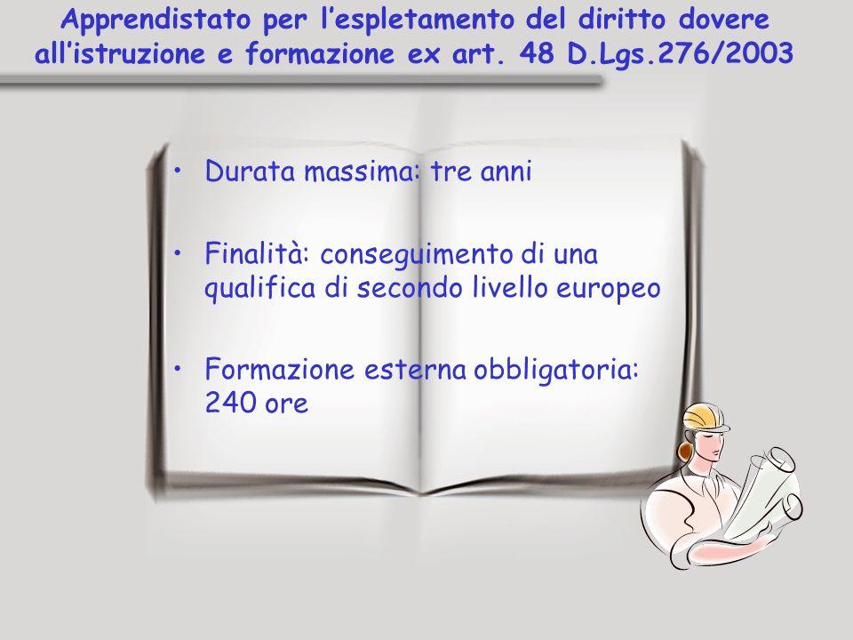 Apprendistato per lespletamento del diritto dovere allistruzione e formazione ex art. 48 D.Lgs.276/2003 Durata massima: tre anni Finalità: conseguimen