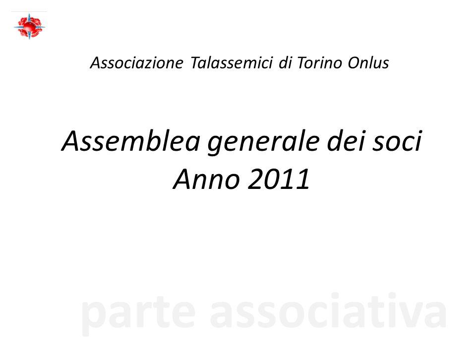 parte associativa Associazione Talassemici di Torino Onlus Assemblea generale dei soci Anno 2011