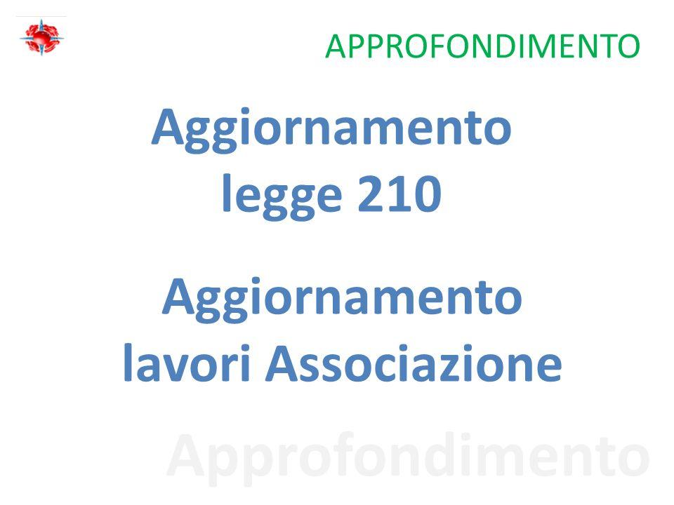 Approfondimento APPROFONDIMENTO Aggiornamento legge 210 Aggiornamento lavori Associazione