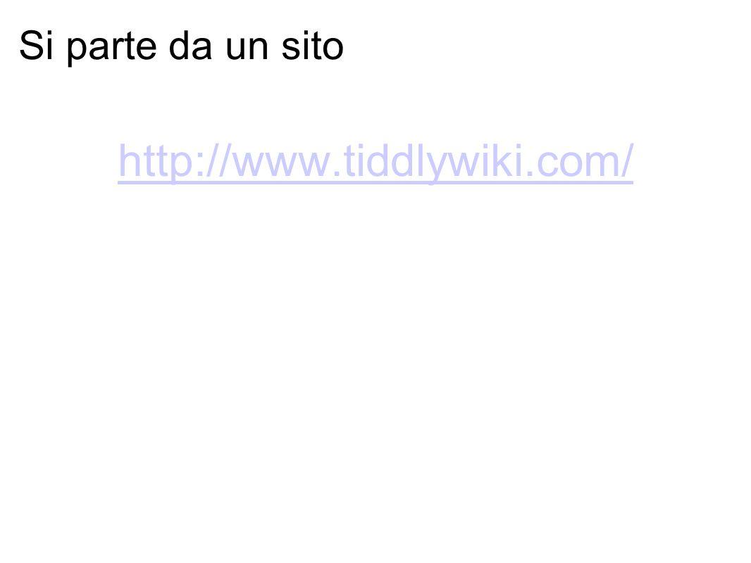 Si parte da un sito http://www.tiddlywiki.com/