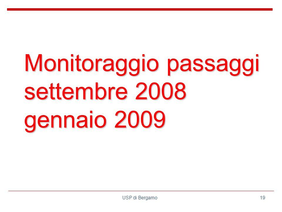 USP di Bergamo19 Monitoraggio passaggi settembre 2008 gennaio 2009