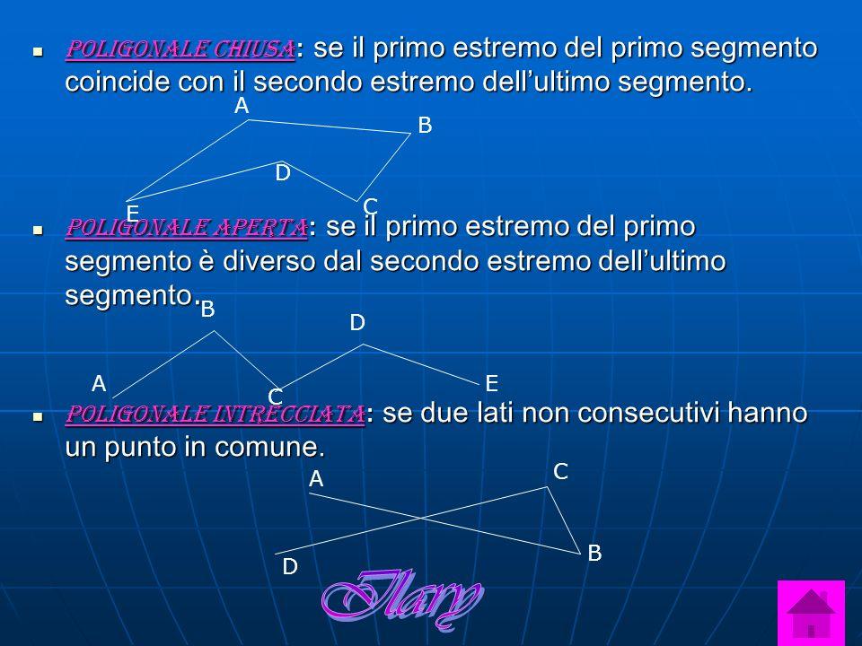 Poligonale chiusa: se il primo estremo del primo segmento coincide con il secondo estremo dellultimo segmento. Poligonale aperta: se il primo estremo