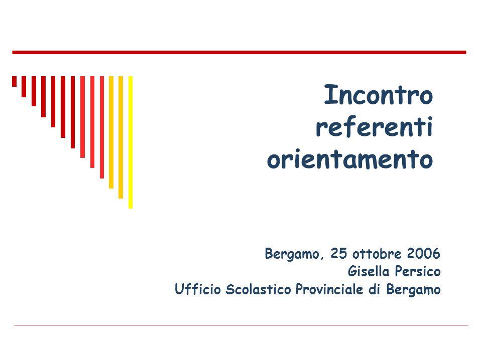 Bergamo, 25 ottobre 2006 Gisella Persico Ufficio Scolastico Provinciale di Bergamo Incontro referenti orientamento