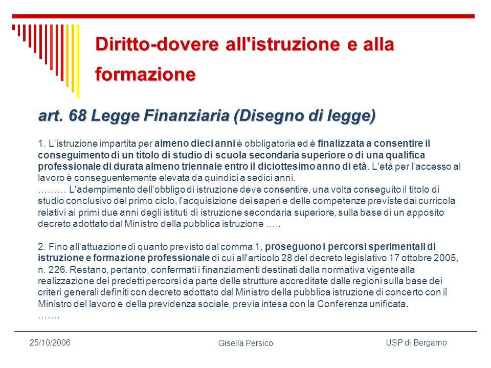 USP di Bergamo Gisella Persico 25/10/2006 art.68 Legge Finanziaria (Disegno di legge) art.